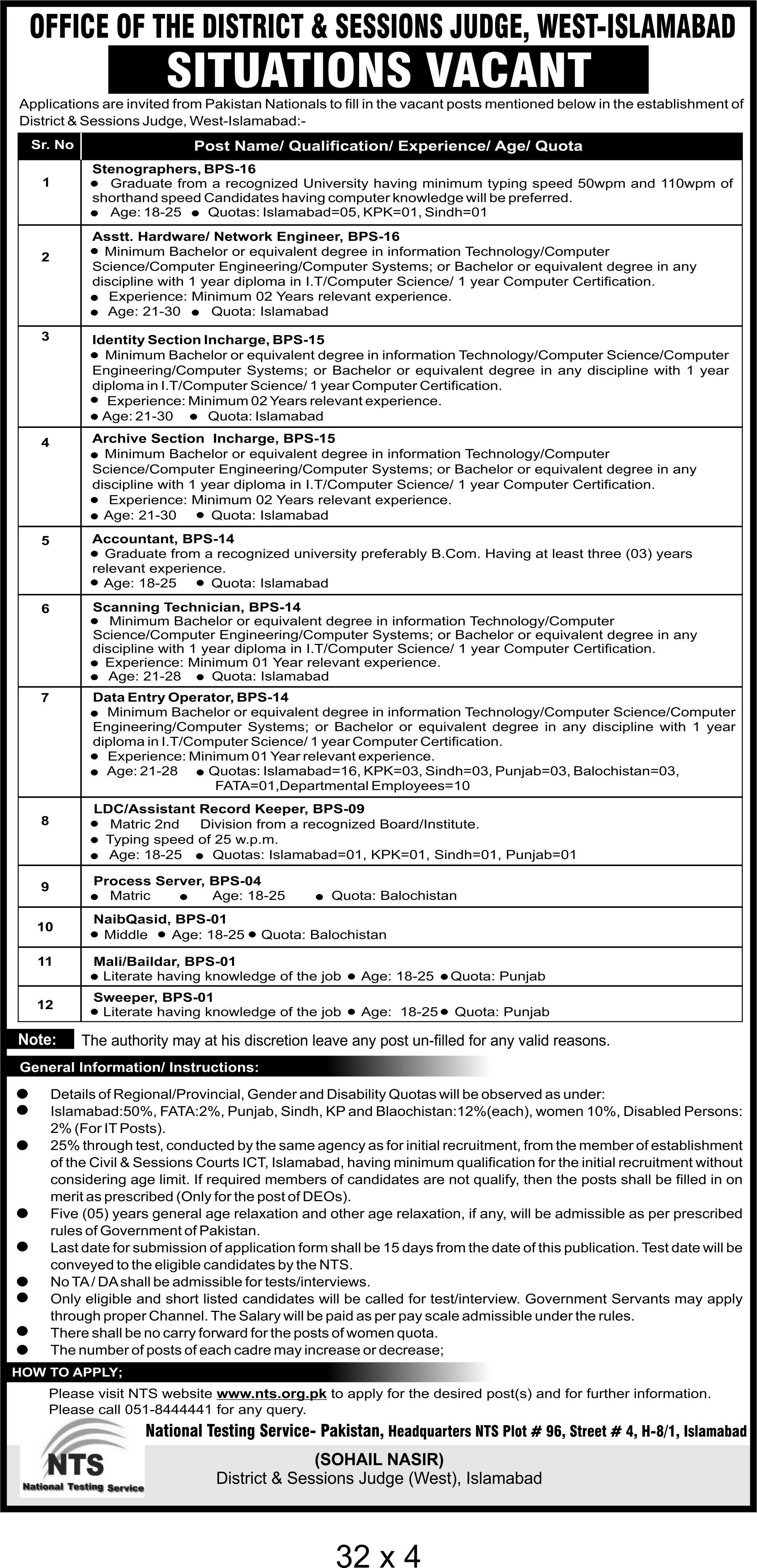 NTS JOBS 2019 Stenographers, Data Entry Operators, Accountant