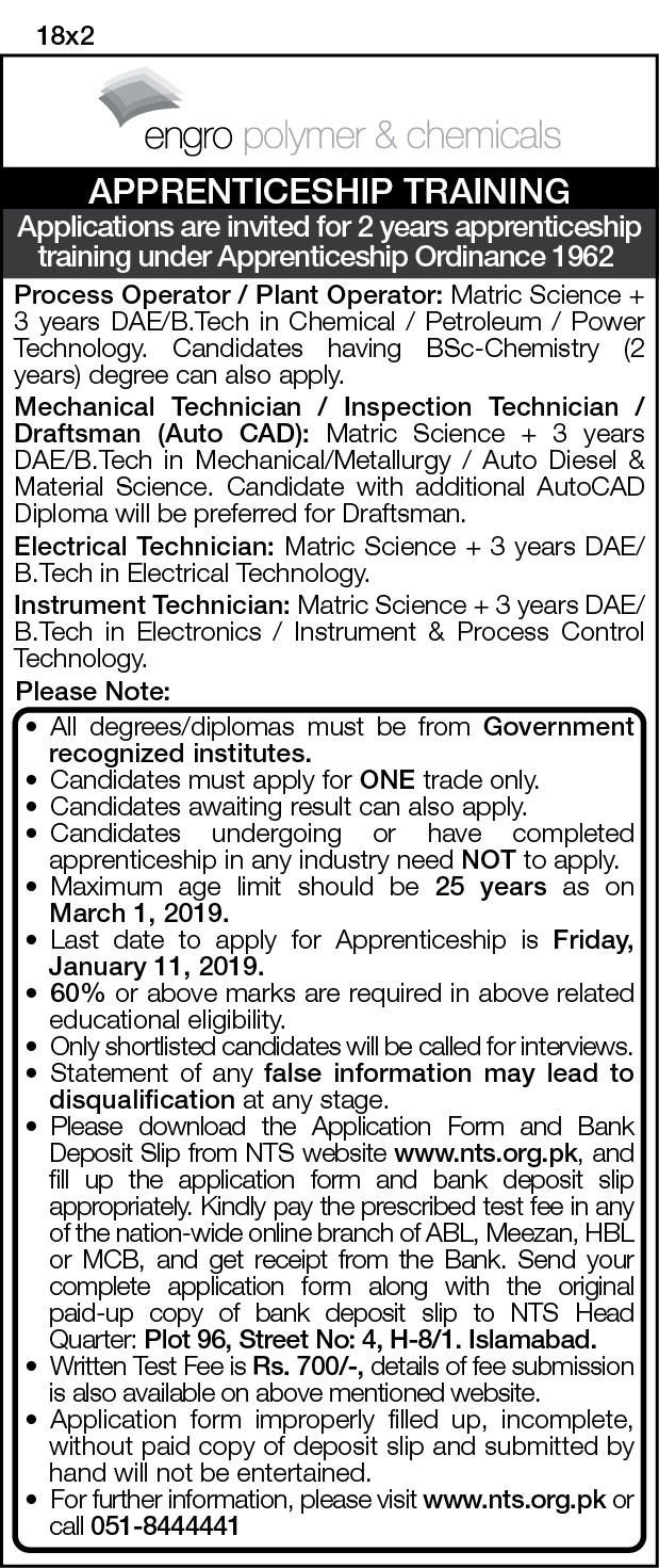 NTS JOBS 2019 FOR Plant Operator, Mechanical Technician, Electrical