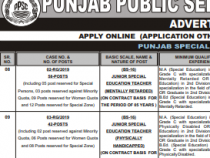 PPSC 253 JOBS 2019 Special Education Teacher, Registrar, Associate Professor etc., BPS-12 to 19 FPSC JOBS 2019 APPLY HERE