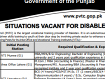 NTS JOBS 2019 FOR DISABLED PERSONS IN Punjab Vocational Training Council NTS JOBS 2019 APPLY HERE