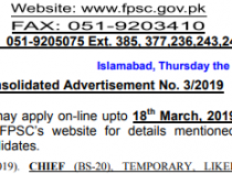 FPSC JOBS 2019 BS- 16 to 20 FPSC JOBS 2019 APPLY HERE