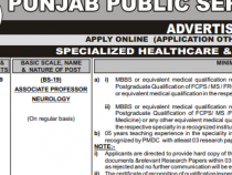PPSC 66 JOBS 2019 Associate Professor Neurology, Technical Officer, Clinical Psychologist etc., BS 16-19 PPSC JOBS 2019 APPLY HERE
